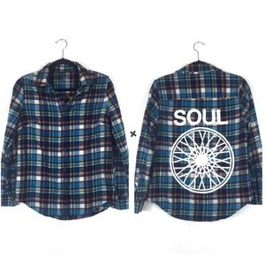 Soul Cycle Blue Plaid Graphic Logo Cozy Flannel